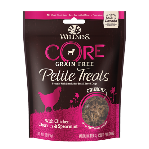 WELLNESS CORE Small Breeds Grain-Free Crunchy Chicken, Cherries & Spearmint Petite Treats (6oz/170g)