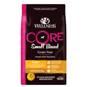 WELLNESS CORE Grain-Free Dry Food: Small Breed Puppy Deboned Turkey, Turkey Meal and Salmon Meal (4lb/12lb)