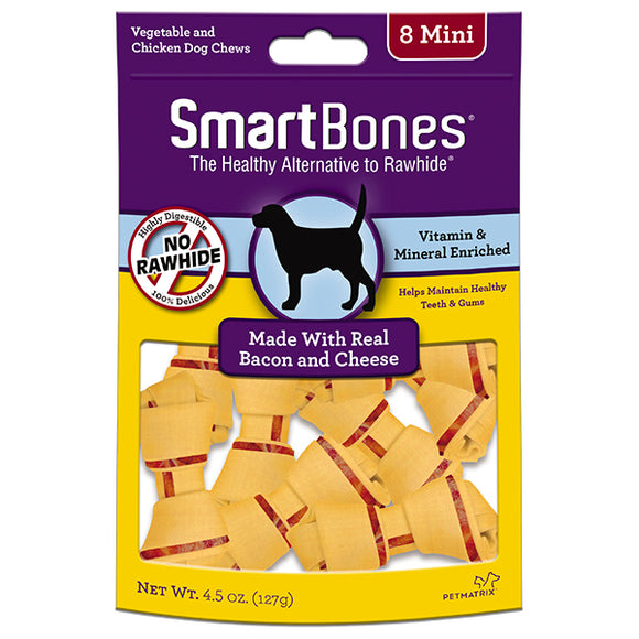 SMARTBONES Classic Bone Chews Bacon and Cheese (Mini 8pcs, 4.5oz)