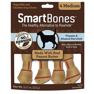 SMARTBONES Classic Bone Chews Peanut Butter (Medium 4pcs, 11oz)