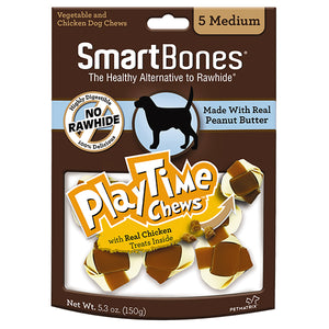 SMARTBONES PlayTime Chews Peanut Butter (Medium 5pcs, 5.3oz)