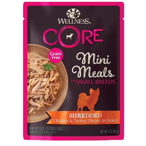 WELLNESS CORE Mini Meals for Small Breed Shredded Chicken & Turkey Dinner In Gravy (3oz/85g)