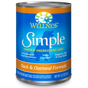WELLNESS Simple Limited Ingredient Wet Food: Duck & Oatmeal (12.5oz)