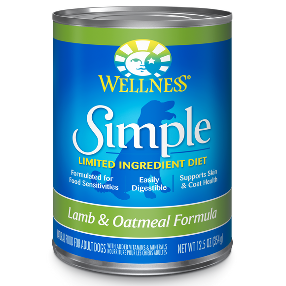 WELLNESS Simple Limited Ingredient Wet Food: Lamb & Oatmeal (12.5oz)