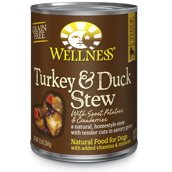 WELLNESS Complete Health Grain-Free Wet Food: Turkey & Duck Stew (12.5oz)