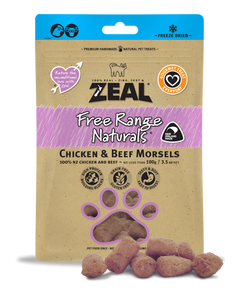 *PROMO* ZEAL Freeze-Dried Treats: Free Range Naturals Chicken & Beef Morsels (100g)