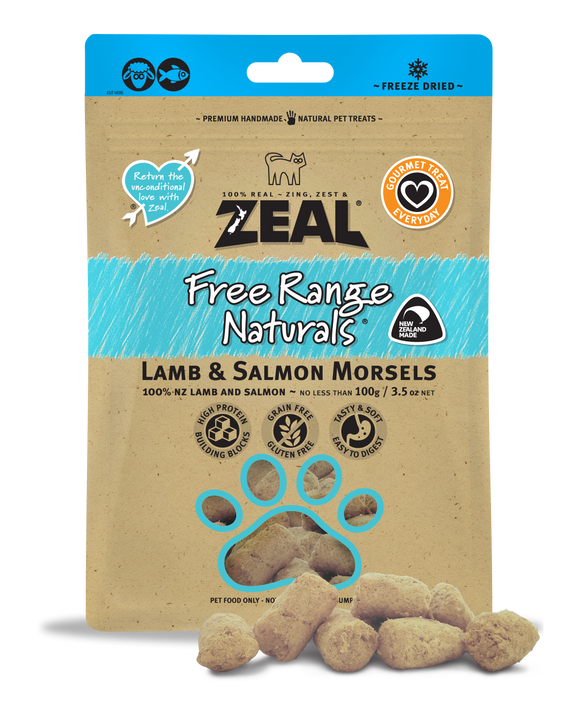 *PROMO* ZEAL Freeze-Dried Treats: Free Range Naturals Lamb & Salmon Morsels (100g)