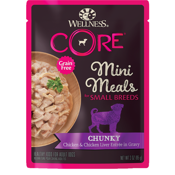 WELLNESS CORE Grain-Free Wet Food: Small Breed Chunky Chicken & Chicken Liver (3oz)