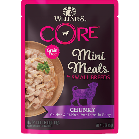 WELLNESS CORE Mini Meals for Small Breed Chunky Chicken & Chicken Liver Entree In Gravy (3oz/85g)