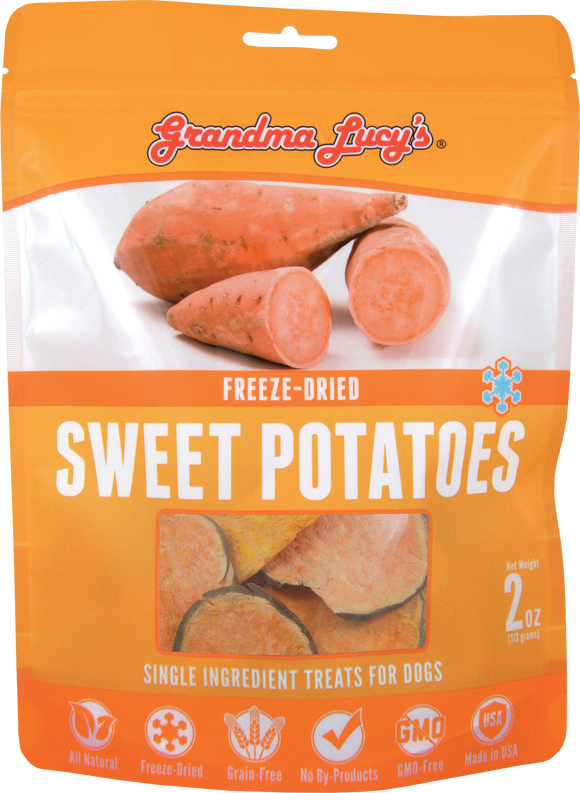 GRANDMA LUCY'S Freeze-Dried Single Ingredient Dog Treats: Sweet Potatoes (2oz)