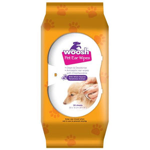 WOOSH Pet Ear Wipes with Witch Hazel & Persimmon Extract (30 Sheets)