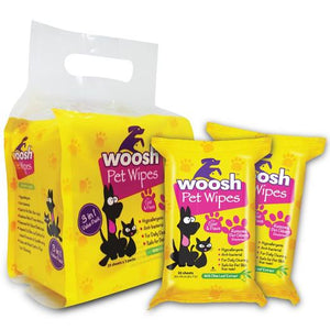 WOOSH Pet Wipes Value Pack (3 packs x 20 sheets)