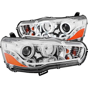 Evo X Anzo Projector Headlights w/ Halo (Black and Clear Options)
