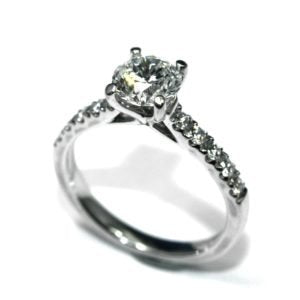 Purebrilliant Diamonds 1ct Diamond Solitaire Ring With Diamond Set Shoulders