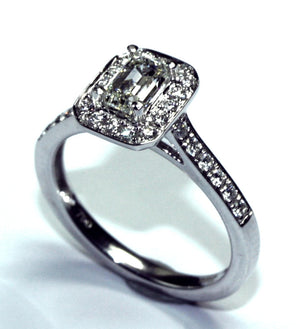 PureBrilliant Diamonds Emerald Cut Diamond Halo Ring