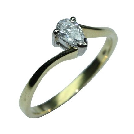 PureBrilliant Diamonds Pear Shaped Diamond Solitaire Ring