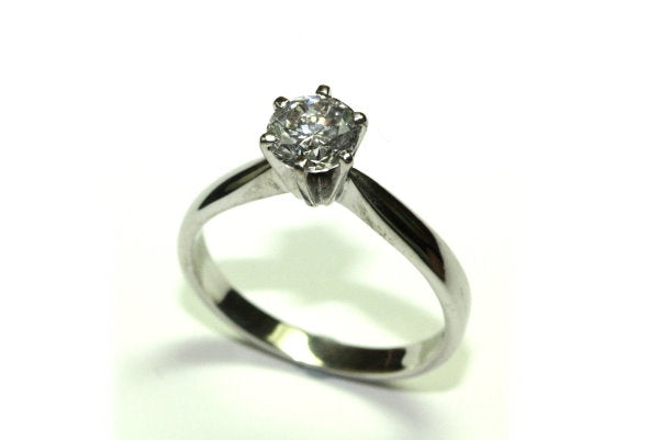 PureBrilliant Diamonds 18ct White Gold Solitaire Diamond Ring