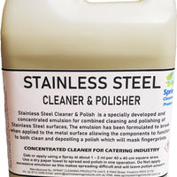 Catering purpose concentrated emulsion for cleaning and polishing stainless steel surfaces.