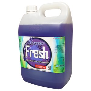 Lavender scented Contains biodegradable surface-active detergents with high levels of germicidal compounds for cleaning and deodorising floors and toilet areas. Kills germs and cleans effectively, leaving washable surfaces hygienically clean.