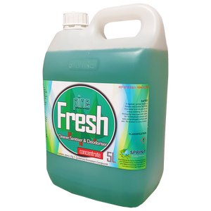 Pine scented Contains biodegradable surface-active detergents with high levels of germicidal compounds for cleaning and deodorising floors and toilet areas. Kills germs and cleans effectively, leaving washable surfaces hygienically clean.