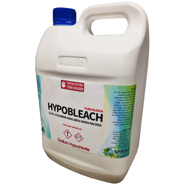Hypo bleach 12.5% is an industrial strength hypochlorite solution. It is usually diluted with water to make a variety of solutions of available chlorine that can be used for bleaching and sanitizing purpose