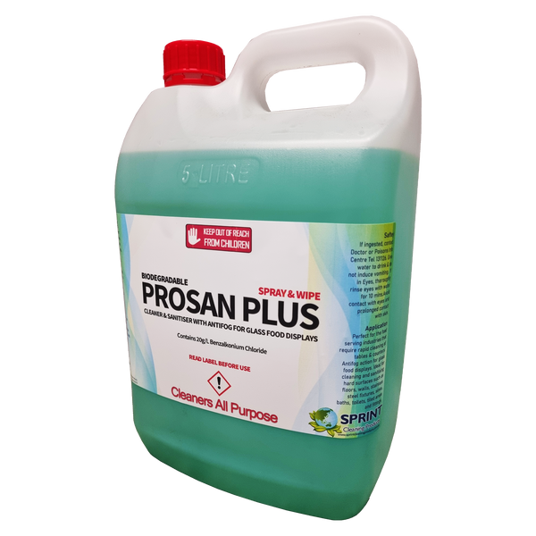 Prosan plus has been formulated to eliminate surface bacteria around food preparation areas, while preventing fogging on the inside of glass.