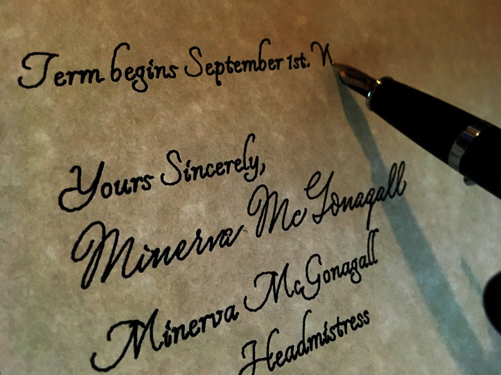 harry potter acceptance letter written with calligraphy pen