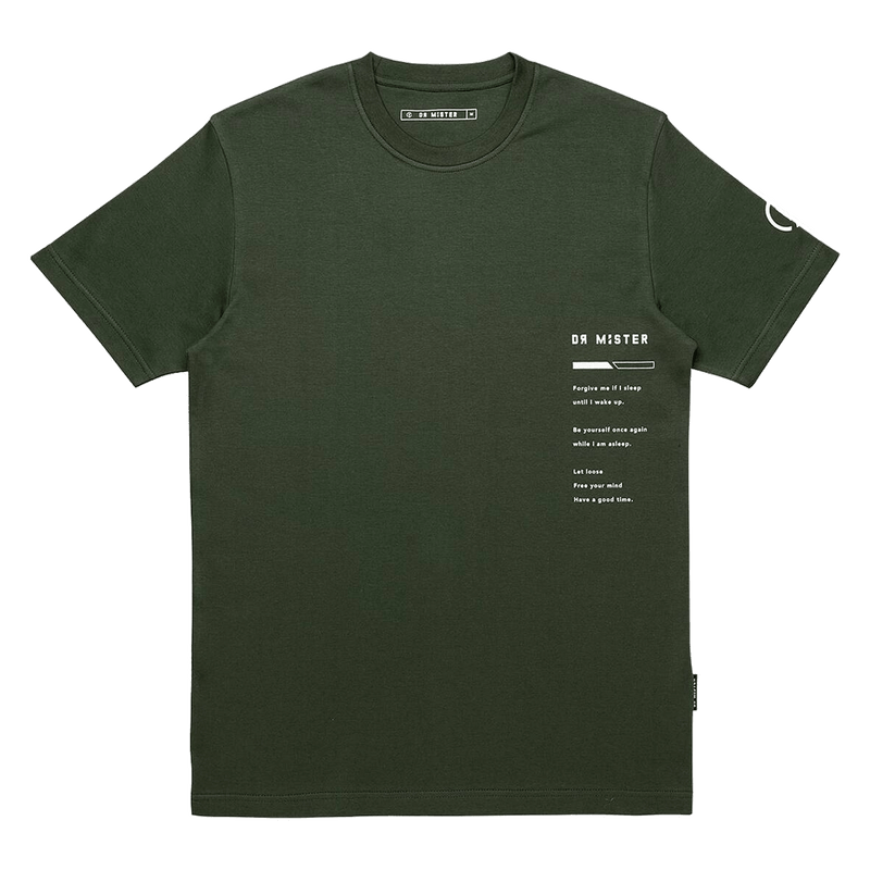 'GOOD TIME AT EASE'' SLEEPING ANGEL T-SHIRT (OLIVE GREEN)