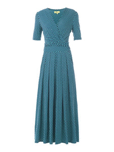 Wrap Front Viscose Maxi Dress, BLue Geo
