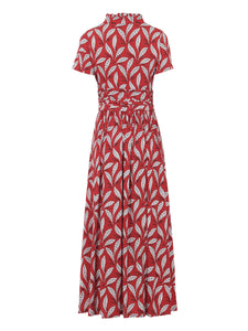 Stand Collar V Neck Maxi Dress, RED LEAFY