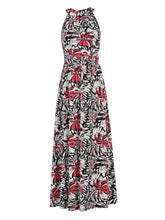 Load image into Gallery viewer, Jolie Moi Print Halter Neck Maxi Dress Black Floral