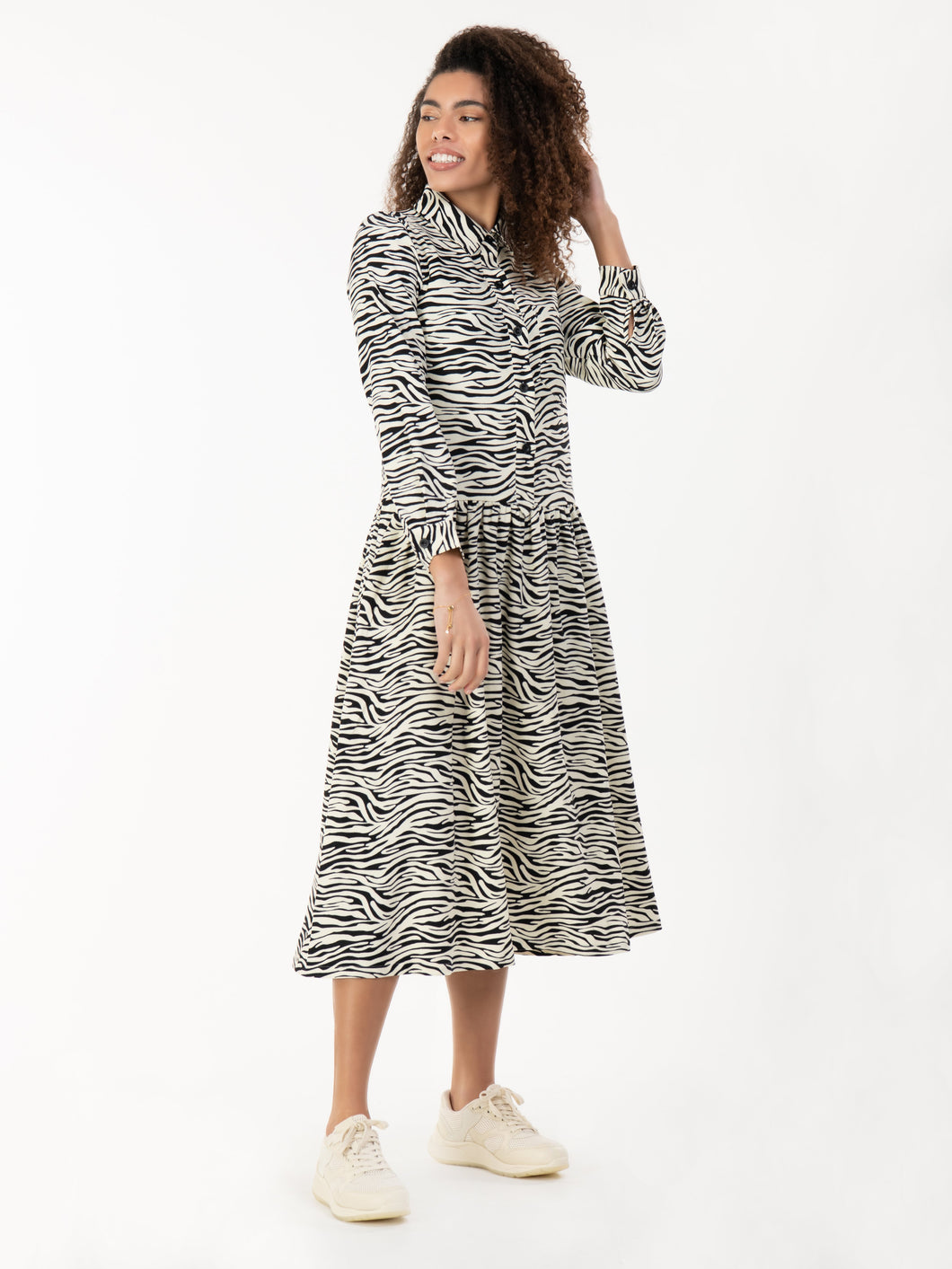 Jolie Moi Print Woven Maxi Shirt Dress, White Animal