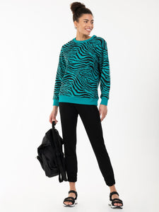 Animal Print Sweatshirt , Green Animal
