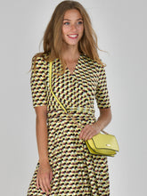 Load image into Gallery viewer, Half Sleeve Wrap Front Maxi Dress, Yellow Geo