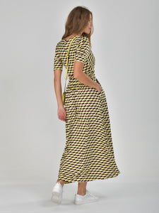 Half Sleeve Wrap Front Maxi Dress, Yellow Geo