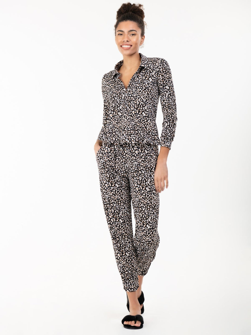 Jolie Moi Printed Blouse & Pants Co-ords Jersey Set, Black Animal