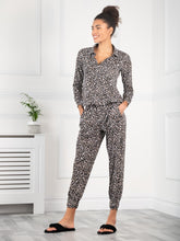 Load image into Gallery viewer, Jolie Moi Printed Blouse & Pants Co-ords Jersey Set, Black Animal