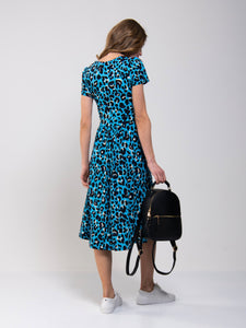 Jolie Moi Leopard Print Fit and Flare Dress
