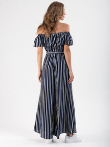 Ruffle Off Shoulder Jumpsuit, Navy Stripe