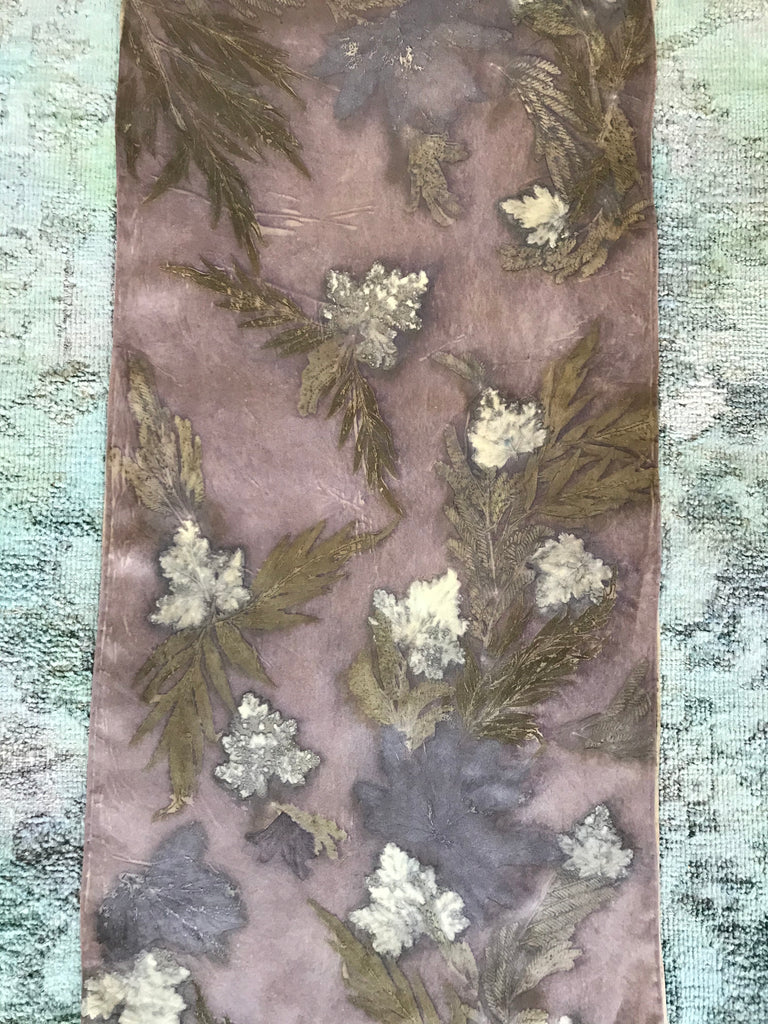 Putty Colored Silk Scarf with Rose  Pellagoniums