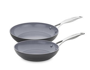GreenPan CC000672-001 Valencia Pro Hard Anodized 100% Toxin-Free Healthy Ceramic Nonstick Metal Utensil/Dishwasher/Oven Safe 8 & 10-Inch Frypan Set, 2-Piece, Grey - SkinnyMinx