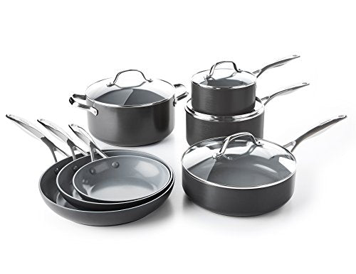 GreenPan CC000675-001 Valencia Pro Hard Anodized 100% Toxin-Free Healthy Ceramic Nonstick Metal Utensil Dishwasher/Oven Safe Cookware Set, 11-Piece, Grey - SkinnyMinx