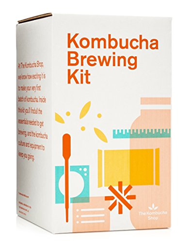 The Kombucha Shop Kombucha Brewing Kit with 1 Gallon Glass Brew Jar, Kombucha SCOBY and Starter Pouch, Temperature Gauge, pH Strips, Loose Leaf Tea and More - SkinnyMinx