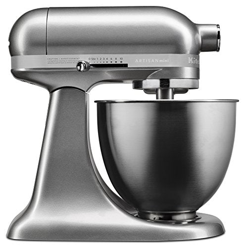 KitchenAid KSM3311XCU Artisan Mini Series Tilt-Head Stand Mixer, 3.5 quart, Contour Silver - SkinnyMinx