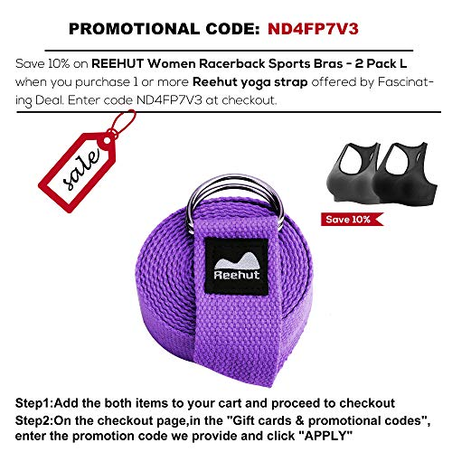 REEHUT Yoga Strap (6ft) - Durable Cotton Exercise Straps w/Adjustable D-Ring Buckle for Stretching, General Fitness, Flexibility and Physical Therapy(Purple) - SkinnyMinx