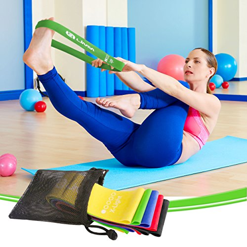Limm Resistance Bands Exercise Loops - 12-inch Workout Flexbands for Physical Therapy, Rehab, Stretching, Home Fitness and More - Includes Bonus EBooks, Instruction Manual, Online Videos & Carry Bag - SkinnyMinx