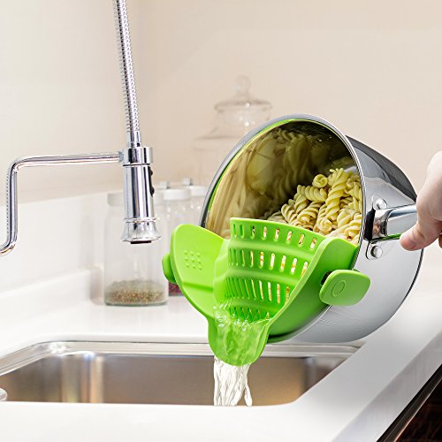 Kitchen Gizmo Snap 'N Strain Strainer, Clip On Silicone Colander, Fits all Pots and Bowls - Lime Green - SkinnyMinx