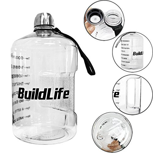 1 Gallon Water Bottle Motivational Fitness Workout with Time Marker |Drink More Water Daily | Clear BPA-Free | Large 128 Ounce/43OZ of Water Throughout The Day (1 gallon-transparent, 1 gallon) - SkinnyMinx