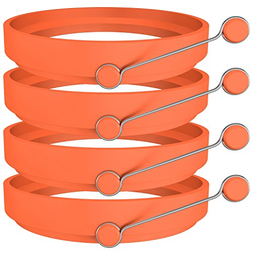 Ozera 4 Pack Nonstick Silicone Egg Ring Pancake Mold, Round Egg Rings Mold, Orange - SkinnyMinx