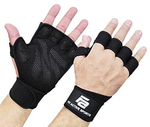 Fit Active Sports New Ventilated Weight Lifting Gloves with Built-in Wrist Wraps, Full Palm Protection & Extra Grip. Great for Pull Ups, Cross Training, Fitness & Weightlifting. (Men & Women) - SkinnyMinx